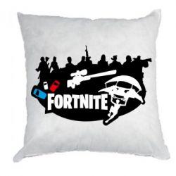 Подушка Fortnite logo and heroes