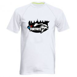 Мужская спортивная футболка Fortnite logo and heroes