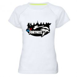 Женская спортивная футболка Fortnite logo and heroes