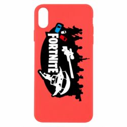 Чехол для iPhone X/Xs Fortnite logo and heroes