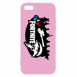 Чехол для iPhone5/5S/SE Fortnite logo and heroes