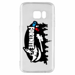 Чехол для Samsung S7 Fortnite logo and heroes