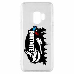 Чехол для Samsung S9 Fortnite logo and heroes