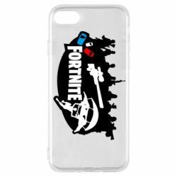 Чехол для iPhone 8 Fortnite logo and heroes