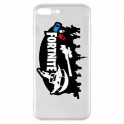 Чехол для iPhone 8 Plus Fortnite logo and heroes
