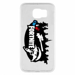Чехол для Samsung S6 Fortnite logo and heroes