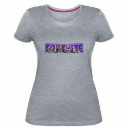 Жіноча стрейчева футболка Fortnite logo and image