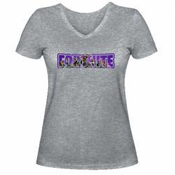 Жіноча футболка з V-подібним вирізом Fortnite logo and image