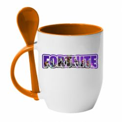 Кружка з керамічною ложкою Fortnite logo and image