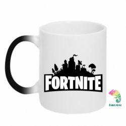 Кружка-хамелеон Fortnite logo