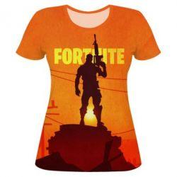 Женская 3D футболка Fortnite minimalist silhouettes
