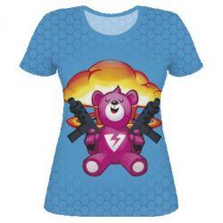 Женская 3D футболка Fortnite pink bear - FatLine