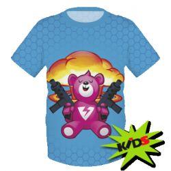 Детская 3D футболка Fortnite pink bear - FatLine