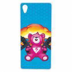 Чехол для Sony Xperia X Fortnite pink bear - FatLine