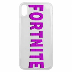 Чехол для iPhone Xs Max Fortnite purple logo text