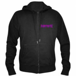 Чоловіча толстовка на блискавці Fortnite purple logo text