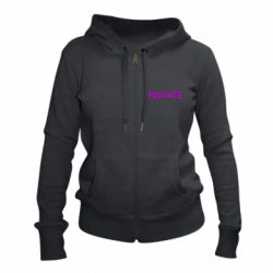 Жіноча толстовка на блискавці Fortnite purple logo text