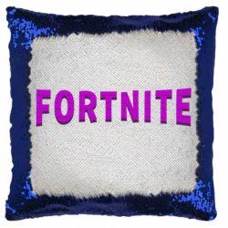 Подушка-хамелеон Fortnite purple logo text