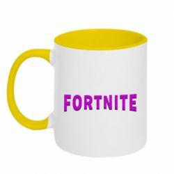 Кружка двоколірна 320ml Fortnite purple logo text