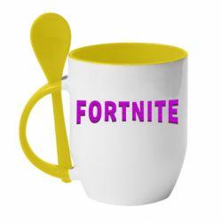Кружка з керамічною ложкою Fortnite purple logo text