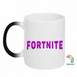 Кружка-хамелеон Fortnite purple logo text