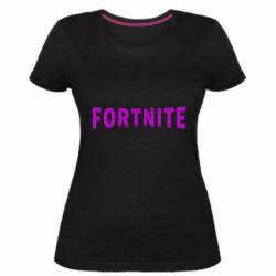 Жіноча стрейчева футболка Fortnite purple logo text