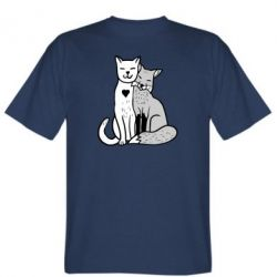 Мужская футболка Fox and cat heart