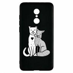Чохол для Xiaomi Redmi 5 Fox and cat heart - FatLine