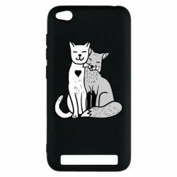 Чохол для Xiaomi Redmi 5a Fox and cat heart - FatLine