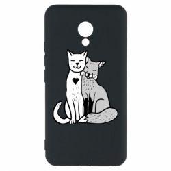 Чохол для Meizu M5 Fox and cat heart - FatLine