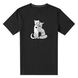 Мужская стрейчевая футболка Fox and cat heart