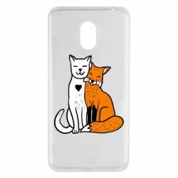Чохол для Meizu M6 Fox and cat heart - FatLine