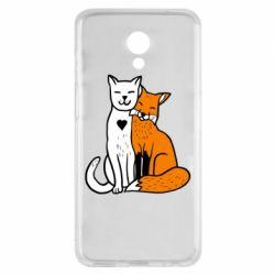 Чохол для Meizu M6s Fox and cat heart - FatLine