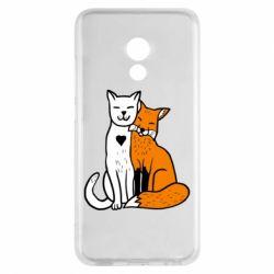 Чохол для Meizu Pro 6 Fox and cat heart - FatLine