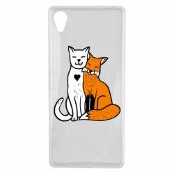 Чохол для Sony Xperia X Fox and cat heart - FatLine