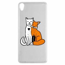 Чохол для Sony Xperia XA Fox and cat heart - FatLine