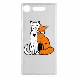 Чохол для Sony Xperia XZ1 Fox and cat heart - FatLine