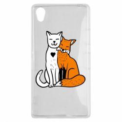 Чохол для Sony Xperia Z1 Fox and cat heart - FatLine