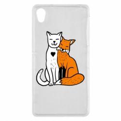 Чохол для Sony Xperia Z2 Fox and cat heart - FatLine