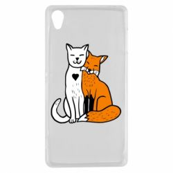 Чохол для Sony Xperia Z3 Fox and cat heart - FatLine