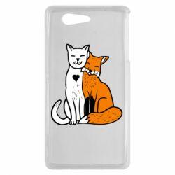 Чохол для Sony Xperia Z3 mini Fox and cat heart - FatLine