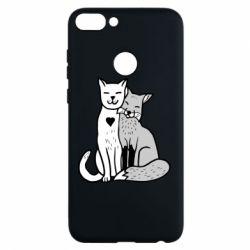 Чохол для Huawei P Smart Fox and cat heart - FatLine