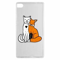 Чохол для Huawei P8 Fox and cat heart - FatLine