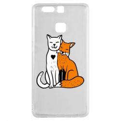 Чохол для Huawei P9 Fox and cat heart - FatLine