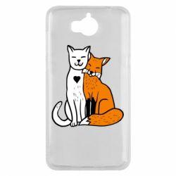 Чохол для Huawei Y5 2017 Fox and cat heart - FatLine