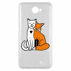 Чохол для Huawei Y7 2017 Fox and cat heart - FatLine