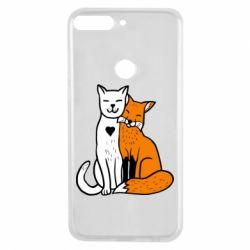 Чохол для Huawei Y7 Prime 2018 Fox and cat heart - FatLine