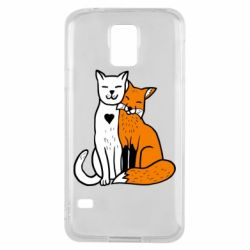 Чохол для Samsung S5 Fox and cat heart