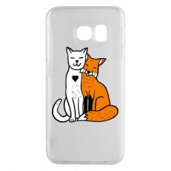 Чохол для Samsung S6 EDGE Fox and cat heart