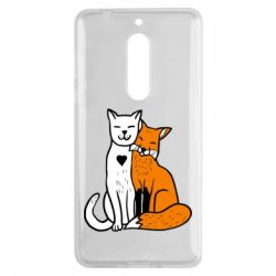 Чохол для Nokia 5 Fox and cat heart - FatLine